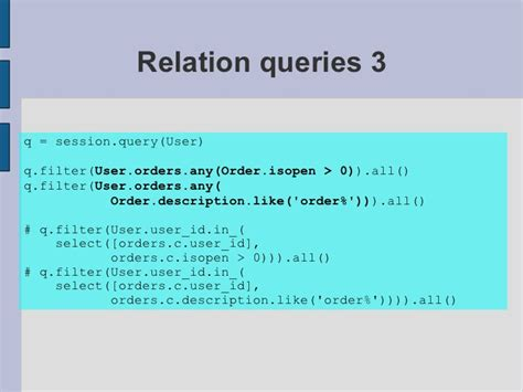 sqlalchemy tutorial query pycon 2010 sqlalchemy tutorial