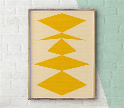 geometric wall decor geometric print yellow decor geometric wall art modern