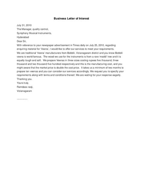 Business Letter Format Letter Of Interest Business Letter Of Interest Hashdoc