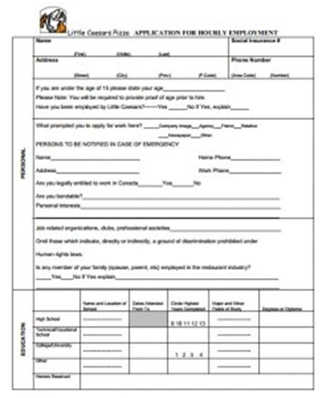 printable job application form for little caesars little caesars application online job forms