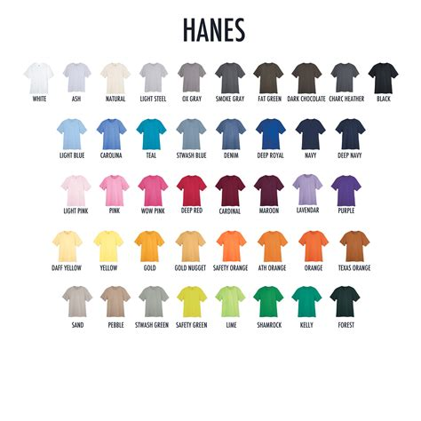 hanes comfort colors hanes color chart pictures to pin on pinterest pinsdaddy
