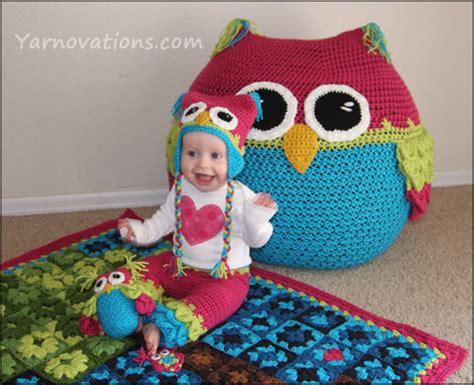crochet pattern for bean bag chair owl set crochet pattern bean bag chair hats pants