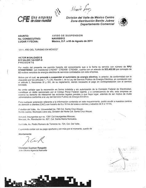 carta de cancelacion servicio cfe residencial narvarte residencial narvarte p 225 2
