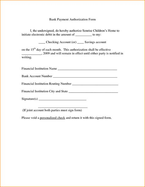 authorization letter payment 6 payment authorization form authorization letter