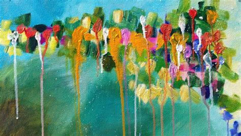 how to drip acrylic paint on canvas abstract drip floral easy acrylic painting the