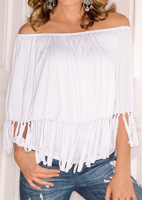Tassel Blouse By Fashion solid tassel shoulder fashion blouse fairyseason