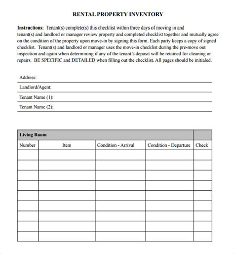 inventory for rental property template sle inventory checklist 16 documents in word excel pdf