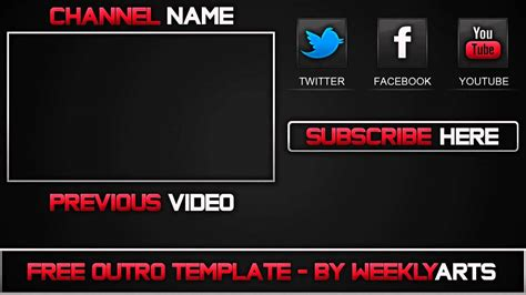 template 1 outro template by weeklyarts youtube