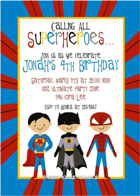 free e invitation superhero party invitations ideas