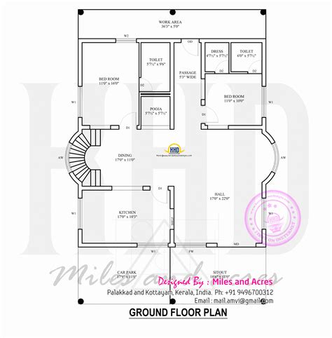 2 Bedroom Ground Floor Plan | 4 bedroom kerala style house kerala home design siddu