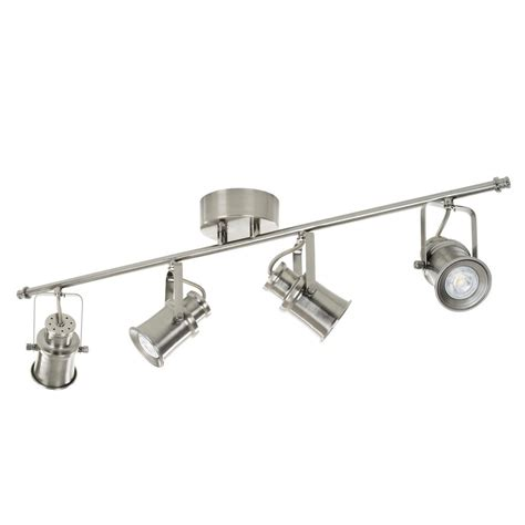 industrial look track lighting hton bay 4 light brushed nickel led dimmable fixed