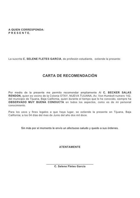 modelo carta recomendacion personal 2 64 de formato de carta de recomendacion 2 modelo de