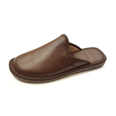mens leather house shoes top line 131 ohio brown leather mule slipper