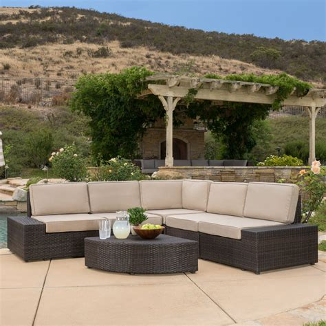 Outdoor Patio Sectional Furniture Reddington Outdoor Brown Wicker Sectional Seating Sofa Set With Cushions Outdoor