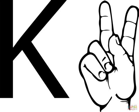 asl alphabet coloring pages asl sign language letter k coloring page free printable