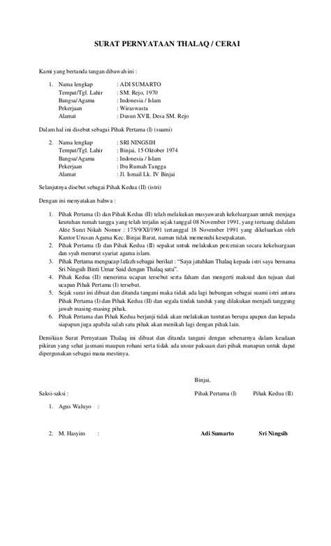 surat pernyataan thalaq