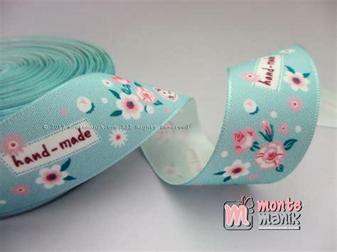 Pita Bunga Biru pita satin vintage biru muda motif bunga 2 5cm pita 186