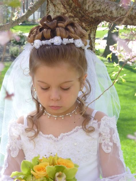 down hairstyles for communion communion half up half down with veil placement