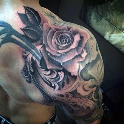 mens rose shoulder tattoo 90 filigree tattoos for ornamental ink design ideas