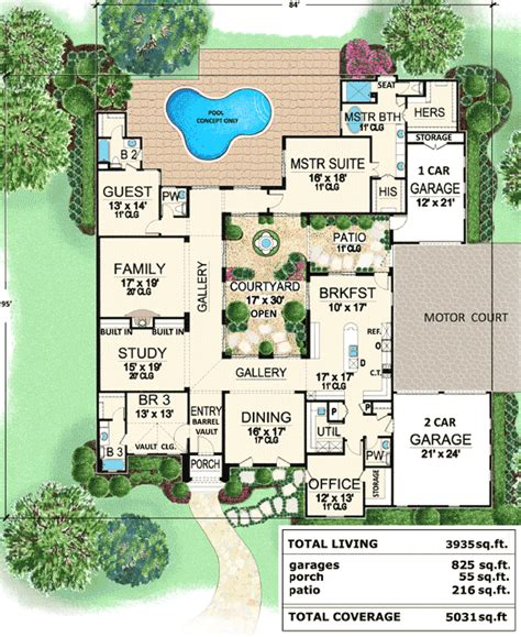 floor plans with pool in the middle center courtyard house plans tuscan luxury