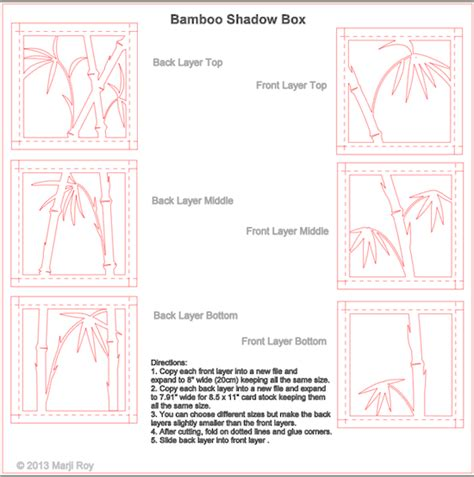 Ashbee Design Silhouette Projects 3 D Bamboo Shadow Box Silhouette Tutorial Shadow Box Template