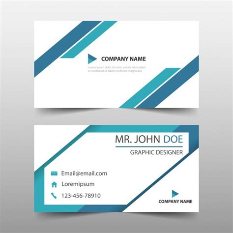 business card design template vector free blue triangle corporate business card template vector