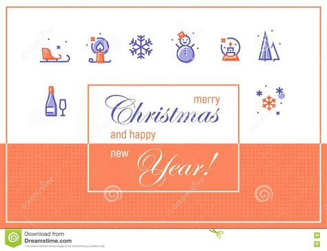merry christmas  happy  year greeting cards template stock illustration illustration