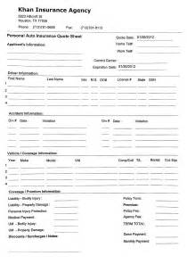 Insurance Quote Sheet Template by Auto Insurance Forms Quotes