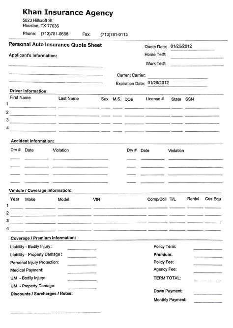 Printable Sample Rental Verification 15 best images of auto quote sheet printable auto
