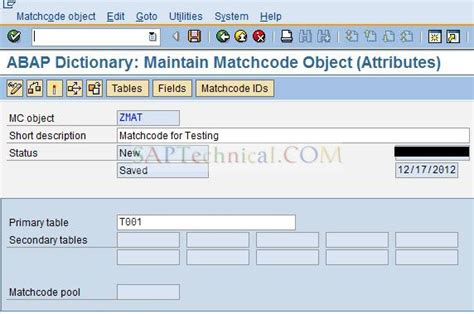 Secret Key Let Me Now Cc 30g technology creation and deletion of matchcode objects