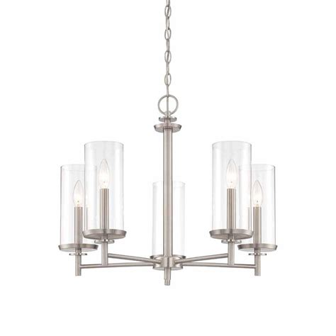 Chandeliers Brushed Nickel Hton Bay 5 Light Brushed Nickel Chandelier With Clear Glass Shades Hb2583 35 The Home Depot
