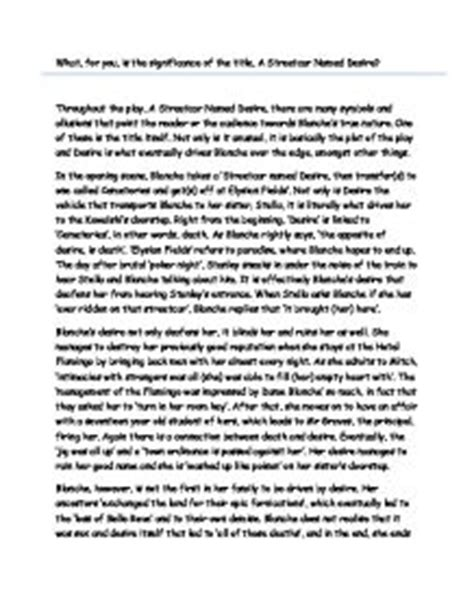 A Streetcar Named Desire Essays by A Streetcar Named Desire Essay Titles