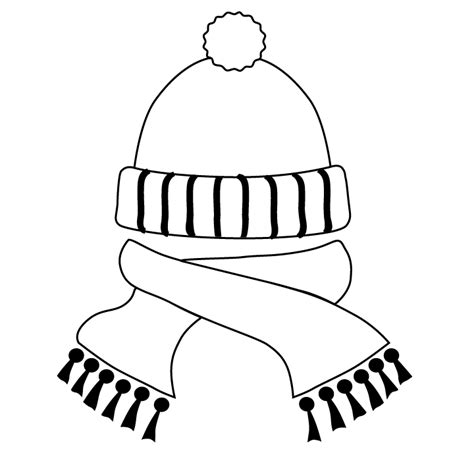 Hat And Scarf Picture Hat And Scarf Coloring Page Color Printable Winter Pictures Of Hats