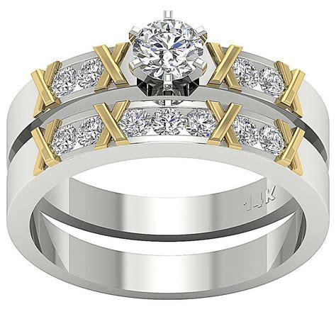 i1 g bridal wedding ring set band 1 00ct