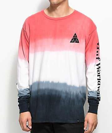 Kaos Sleeve Huf Triangle Black Dyed huf t shirts zumiez