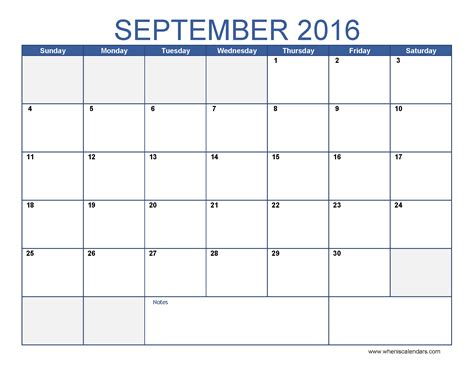 2016 Calendar By Month September 2016 Calendar Template Monthly Calendar 2016