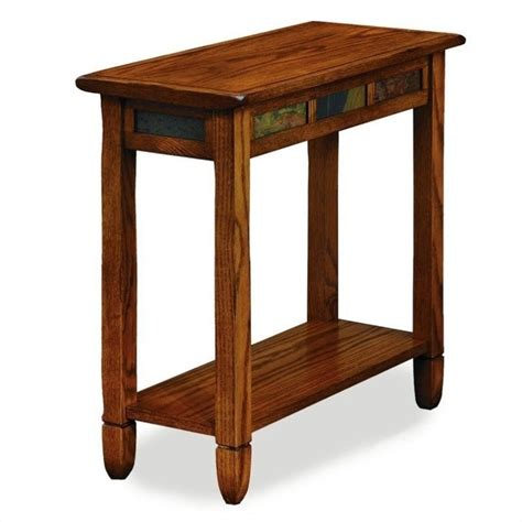 Small End Tables Rustic Slate Chairside Small End Table In Rustic Oak 10060