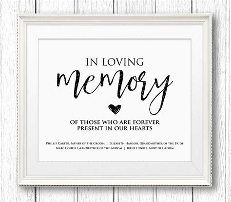 In Loving Memory Cards Template Free in loving memory wedding sign editable text personalize