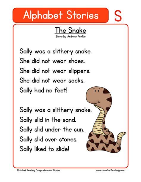 printable alphabet stories kindergarten reading comprehension worksheets page 4 of