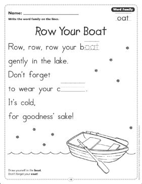 row your boat worksheet row your boat word family oat word family poetry page