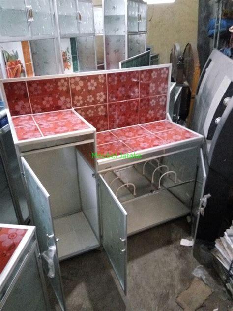 Rak Piring Tangerang jual meja dapur meja kompor 3 pintu rak piring model l