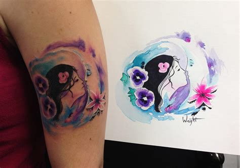 watercolor moon tattoo designs cool watercolor tattoos 2017 designsmag