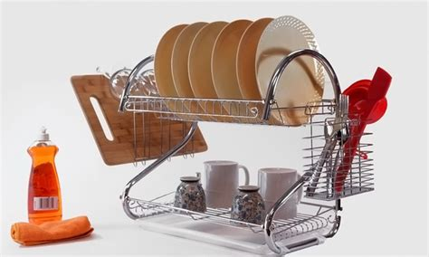 Two Tiered Dish Rack by 22 Or 26 In 2 Tier Chrome Dish Rack Groupon