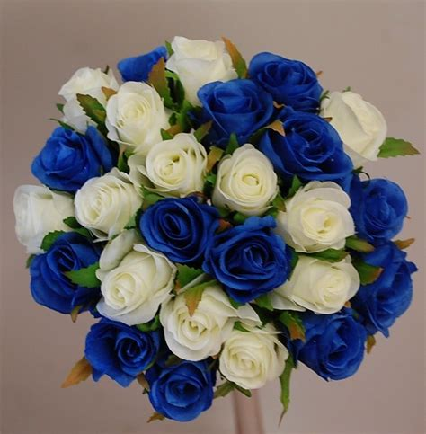 roses blue cream silk rose posy bouquets wedding bouquet