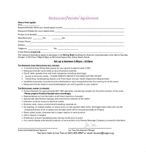 event vendor agreement template 10 vendor agreement templates free sle exle