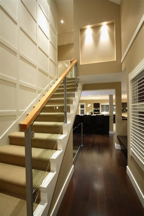 Banister railing ideas staircase traditional with carpeted