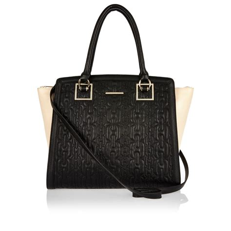 River Island Quilted Tote Bag by River Island Black Contrast Gusset Quilted Tote Bag In