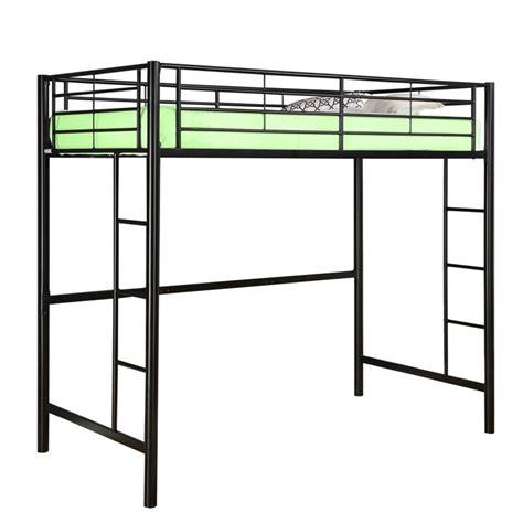 twin size loft bed tubular steel twin size loft bunk bed in black