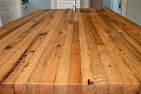 Antique Butcher Block Kitchen Island Reclaimed White Oak Wood Countertop Photo Gallery By