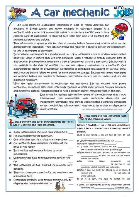 Auto Mechanic Worksheets all worksheets 187 auto mechanic worksheets printable